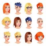 Arbeiten Sie weibliche Avataras um Stockbilder