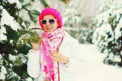 Arbeiten Sie Winterporträt glückliche lächelnde Frau nahe dem NiederlassungsWeihnachtsbaum um, der bunte Strickmütze in schneebed Stockfoto