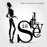 Arbeiten Sie Zitat mit Modefrau in der Skizzenart um Stockfotografie