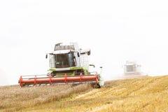 Arbeitender erntender Mähdrescher zwei auf dem Gebiet des Weizens Stockfotos