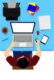 Arbeiter mit Computer, von der Spitze lizenzfreie abbildung