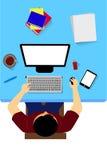 Arbeiter mit Computer, von der Spitze stock abbildung