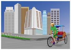 Arbeiter mit dem Fahrrad mit drei Rädern in der Stadt stock abbildung