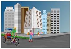 Arbeiter mit dem Fahrrad mit drei Rädern in der Stadt lizenzfreie abbildung