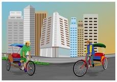 Arbeiter mit dem Fahrrad mit drei Rädern in der Stadt vektor abbildung