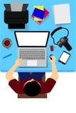 Arbeiter mit Personal-Computer, von der Spitze stock abbildung