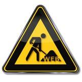 Arbeiter, Netz und Baustelle Stockfoto