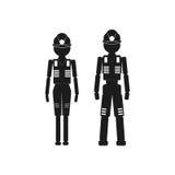 Arbeiter und Frau Vector schwarze Ikone auf weißem Hintergrund lizenzfreie abbildung
