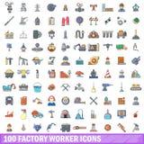 100 Arbeiterikonen eingestellt, Karikaturart Stockfotos