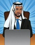 Arbeitet bunte komische Artillustration des Vektors eines arabischen Mannes in der traditionellen Kleidung am Beistandsservice vektor abbildung