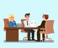 Arbeitgeber, die Bewerber-Illustration interviewen stock abbildung
