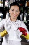 Arbeitnehmerin-Reinigungsglas Stockbilder