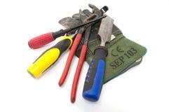 Arbeits-Handschuh und Hilfsmittel Stockbild