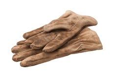 Arbeits-Handschuhe getrennt mit Ausschnittspfad Stockfoto