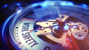 Arbeits-Sicherheit - Phrase auf Weinlese-Taschen-Uhr 3d übertragen Stockfoto