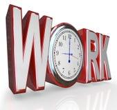 Arbeits-Uhr-Wort-Zeit, arbeitend an Job Career zu erhalten Lizenzfreie Stockbilder