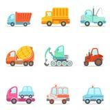 Arbeitsautos des öffentlichen Diensts, des Baus und der Straße eingestellt von buntem Toy Cartoon Icons Lizenzfreie Stockfotografie