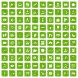 100 Arbeitsberufikonen stellten Schmutzgrün ein Stockfotos