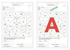 Arbeitsblatt - identifizieren Sie Alphabet Stockfoto