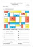 Arbeitsblatt - identifizieren Sie Form u. färben Sie Stockbild