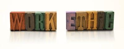 Arbeitsethos-Wort-Blockschrift auf lokalisiertem weißem Hintergrund Lizenzfreies Stockfoto