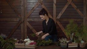 Arbeitsflorist Woman mit Weihnachtskranz Junger netter lächelnder Frauendesigner, der Weihnachtsimmergrünen Baum-Kranz vorbereite stock footage