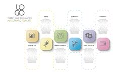 Arbeitsfluß, Jahresbericht, Zeitachse, infographics Stockbild