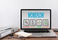 Arbeitsflusskonzept Schreibtisch mit einem Laptop Stockbilder