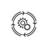 Arbeitsflusslinie Ikone, Entwurfsvektorzeichen, lineares Artpiktogramm lokalisiert auf Weiß lizenzfreie abbildung