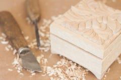 Arbeitsgerät von Woodcarver Stockfotos