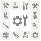 Arbeitsgeräte lokalisierte Ikonen eingestellt vom Hammer Lizenzfreie Stockbilder