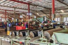 Arbeitskräfte auf der Teefabrik Stockfotografie