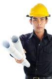 Arbeitskräfte betriebsbereit, den Zeichnungsplan zu führen stockbilder