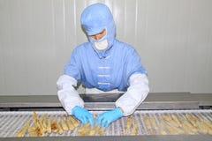 Arbeitskräfte in der Lebensmittelverarbeitungsfertigungsstraße Stockbilder