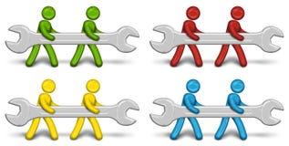 Arbeitskräfte, die einen Schlüssel tragen Stockfoto