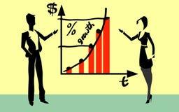 Arbeitskräfte, die Wachstumstabelle zeigen Stockbilder