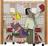 Arbeitskräfte in einer Buchhandlung Lizenzfreie Stockbilder