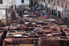 Arbeitskräfte im Gerberei souk, Marokko Lizenzfreie Stockfotos
