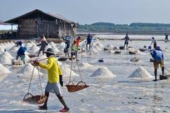 Arbeitskräfte im Salz, das Thailand bewirtschaftet Lizenzfreie Stockfotos