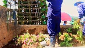 Arbeitskräfte konstruieren hoher Turm-Blumenbeet mit Blumentöpfen stock video footage