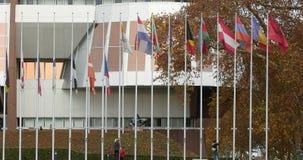 Arbeitskräfte setzten alle Flaggen am Halbmast am Europarat stock video footage