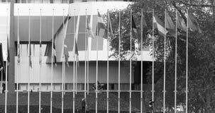 Arbeitskräfte setzten alle Flaggen am Halbmast am Schwarzweiss Europarat stock video footage