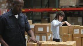 Arbeitskraft überprüft Klemmbrett als Kollege-Dichtungs-Kästen stock footage