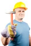 Arbeitskraft des blauen Kragens mit Hammer Lizenzfreies Stockfoto