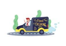 Arbeitskraft des Nahrungsmittelzustelldiensts, der LKW fährt und Hand wellenartig bewegt Kurier in Arbeitsuniform Flaches Vektord lizenzfreie abbildung