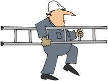 Arbeitskraft, die eine Strichleiter trägt Lizenzfreies Stockbild