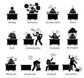 Arbeitskraft, die an einem sehr stressigen Büroarbeitsplatz arbeitet stock abbildung