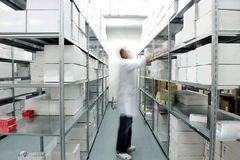 Arbeitskraft, die Kästen zusammenfügt Lizenzfreie Stockfotos