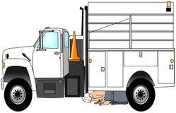 Arbeitskraft, die seinen LKW überprüft stock abbildung
