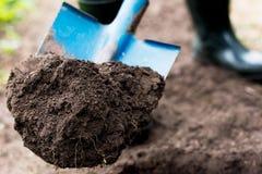 Arbeitskraft gräbt den schwarzen Boden mit Schaufel im Gemüsegarten Lizenzfreie Stockfotografie
